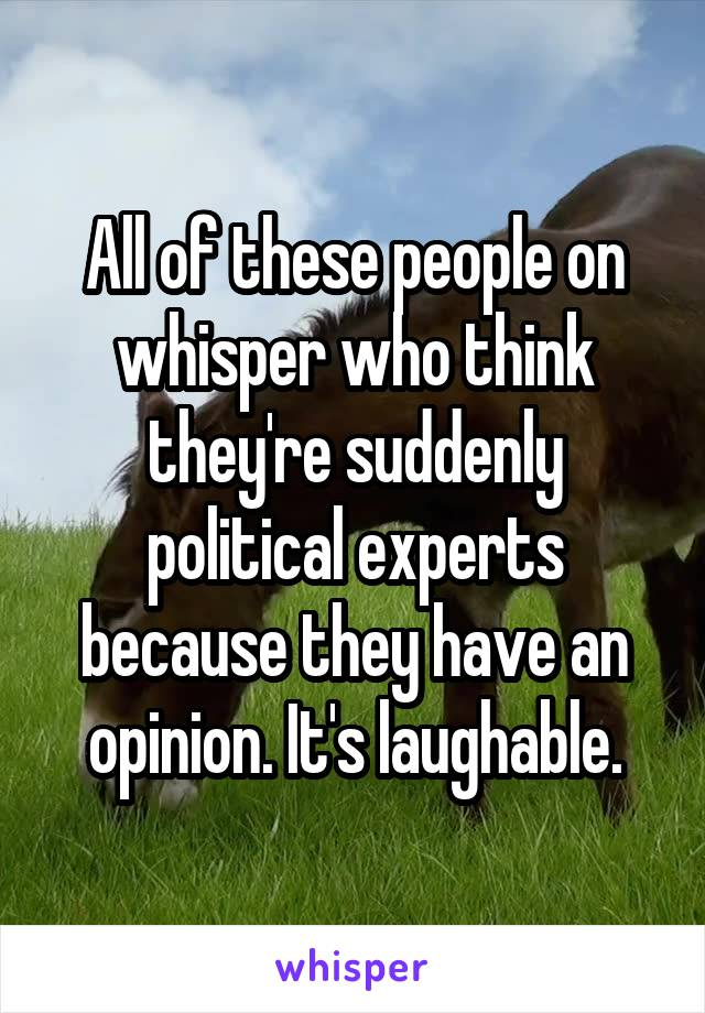 All of these people on whisper who think they're suddenly political experts because they have an opinion. It's laughable.