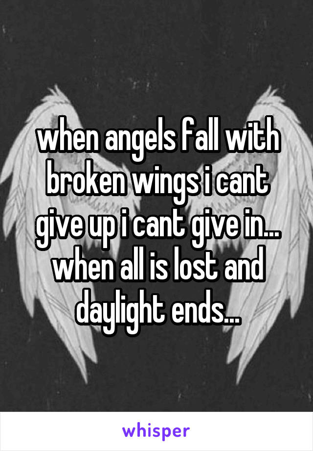 when angels fall with broken wings i cant give up i cant give in... when all is lost and daylight ends...