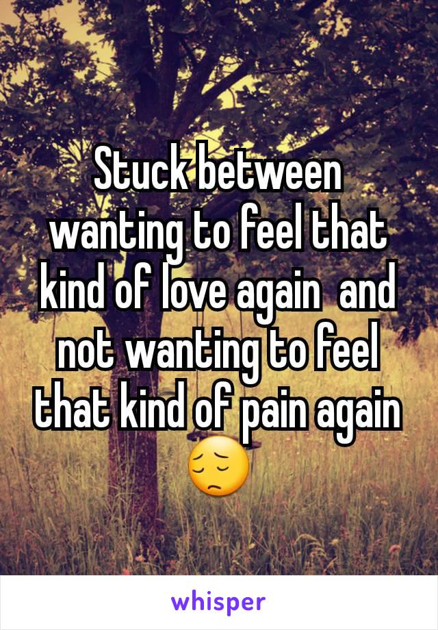 Stuck between wanting to feel that kind of love again  and not wanting to feel that kind of pain again😔