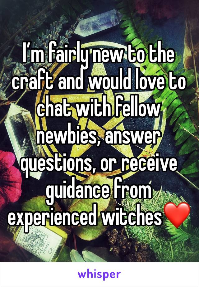I'm fairly new to the craft and would love to chat with fellow newbies, answer questions, or receive guidance from experienced witches❤️