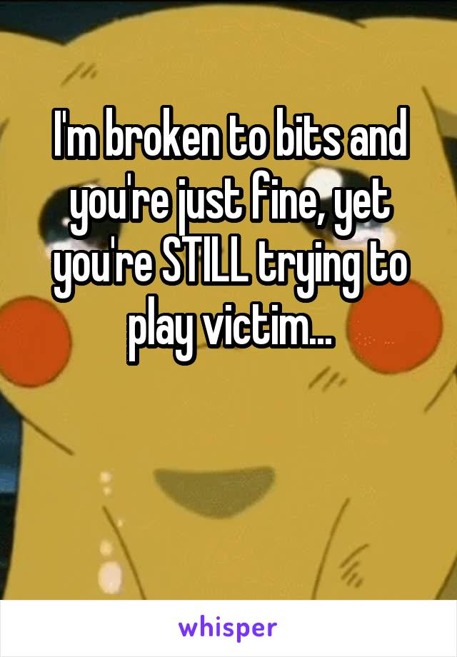 I'm broken to bits and you're just fine, yet you're STILL trying to play victim...