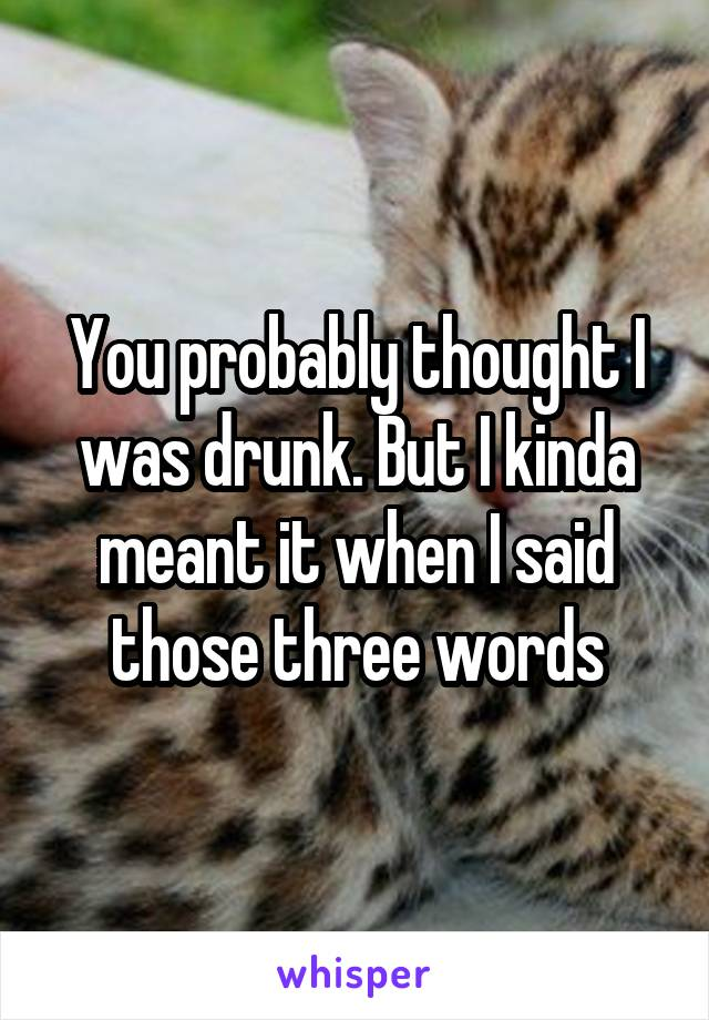You probably thought I was drunk. But I kinda meant it when I said those three words