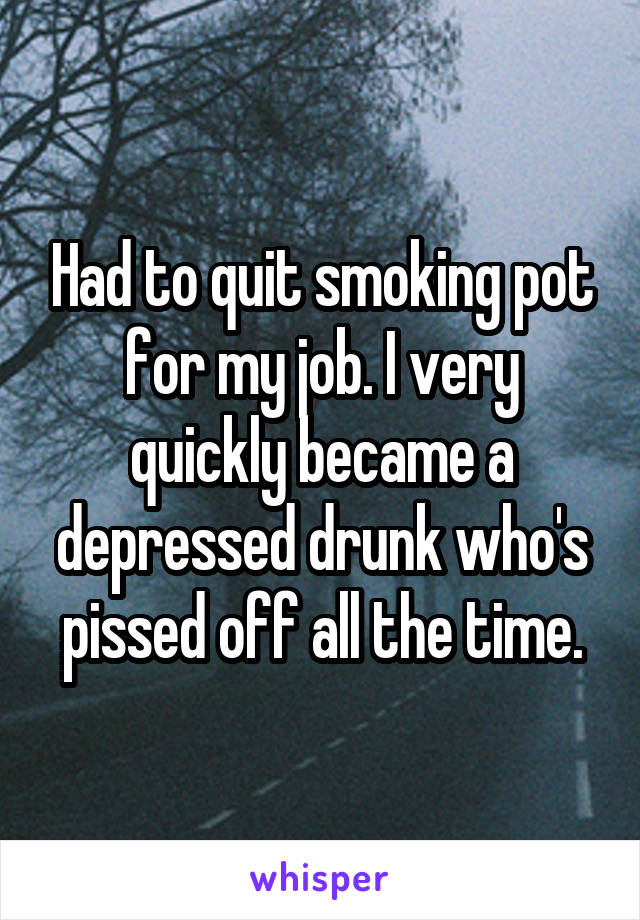 Had to quit smoking pot for my job. I very quickly became a depressed drunk who's pissed off all the time.