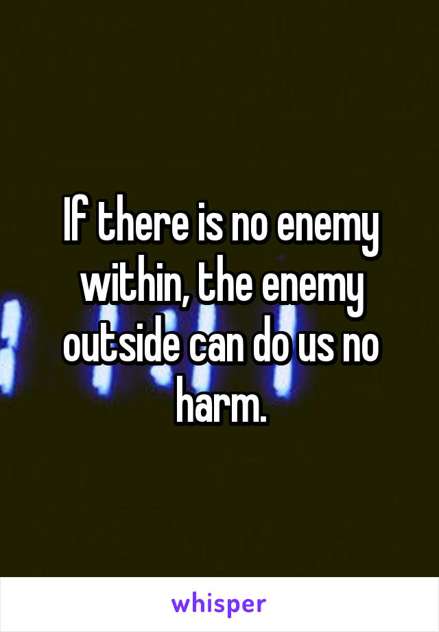 If there is no enemy within, the enemy outside can do us no harm.