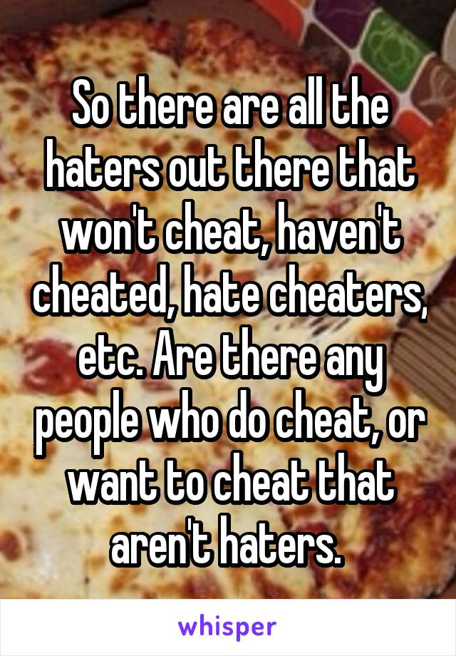 So there are all the haters out there that won't cheat, haven't cheated, hate cheaters, etc. Are there any people who do cheat, or want to cheat that aren't haters.