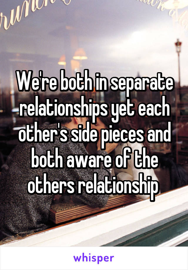 We're both in separate relationships yet each other's side pieces and both aware of the others relationship