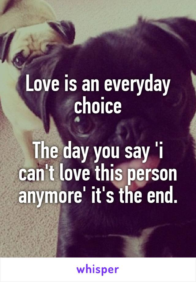Love is an everyday choice  The day you say 'i can't love this person anymore' it's the end.