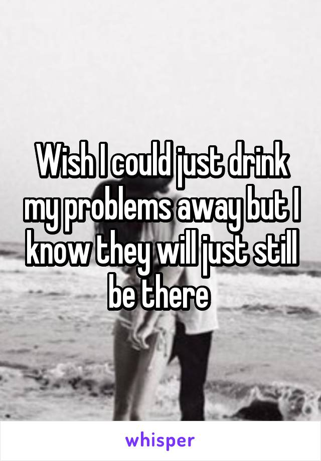 Wish I could just drink my problems away but I know they will just still be there