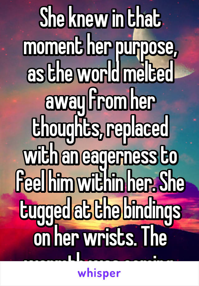 She knew in that moment her purpose, as the world melted away from her thoughts, replaced with an eagerness to feel him within her. She tugged at the bindings on her wrists. The warmth was coming.