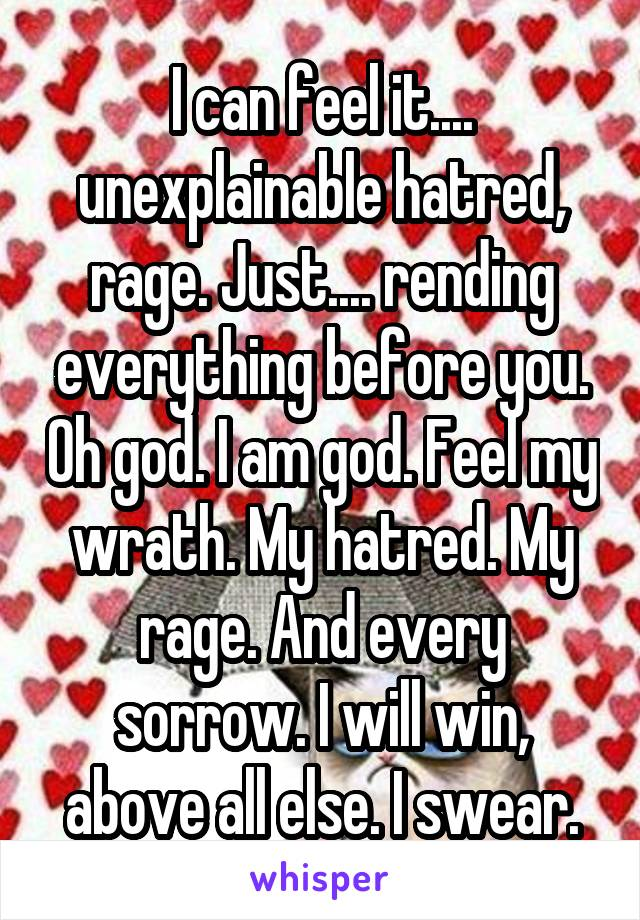 I can feel it.... unexplainable hatred, rage. Just.... rending everything before you. Oh god. I am god. Feel my wrath. My hatred. My rage. And every sorrow. I will win, above all else. I swear.