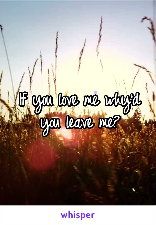 If you love me why'd you leave me?