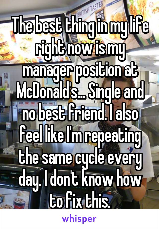 The best thing in my life right now is my manager position at McDonald's... Single and no best friend. I also feel like I'm repeating the same cycle every day. I don't know how to fix this.