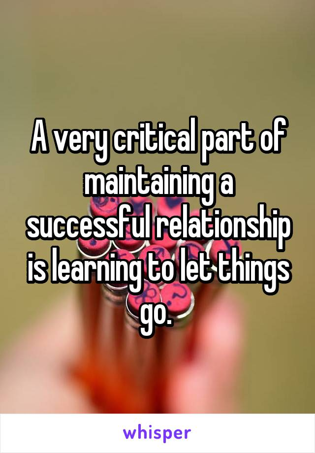A very critical part of maintaining a successful relationship is learning to let things go.