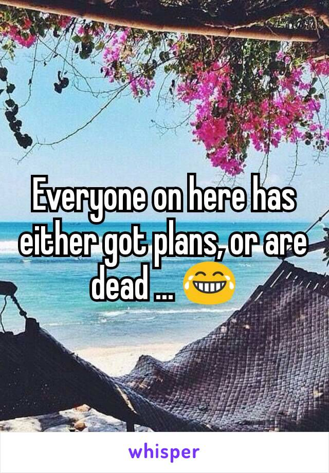 Everyone on here has either got plans, or are dead ... 😂