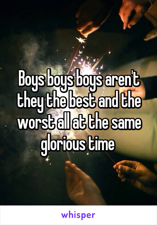 Boys boys boys aren't they the best and the worst all at the same glorious time