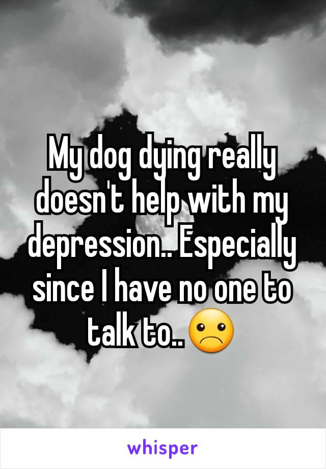 My dog dying really doesn't help with my depression.. Especially since I have no one to talk to..☹