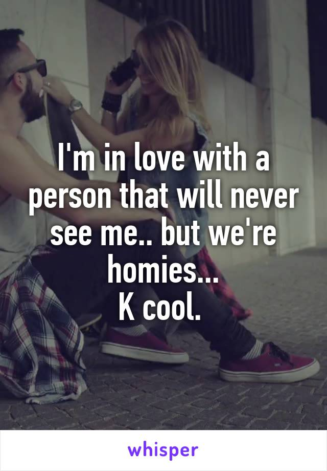 I'm in love with a person that will never see me.. but we're homies... K cool.
