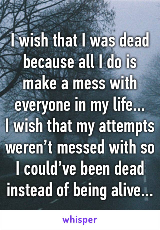I wish that I was dead because all I do is make a mess with everyone in my life... I wish that my attempts weren't messed with so I could've been dead instead of being alive...