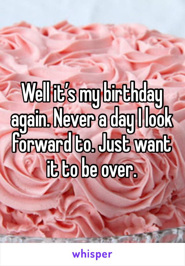 Well it's my birthday again. Never a day I look forward to. Just want it to be over.