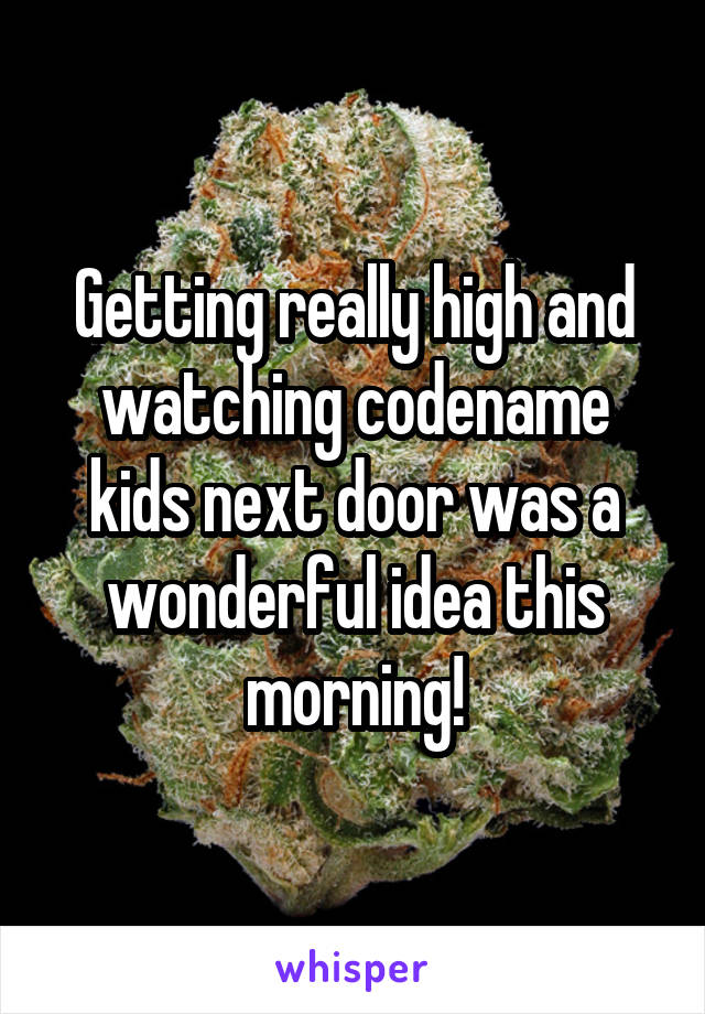 Getting really high and watching codename kids next door was a wonderful idea this morning!