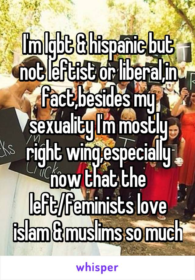 I'm lgbt & hispanic but not leftist or liberal,in fact,besides my sexuality I'm mostly right wing,especially now that the left/feminists love islam & muslims so much