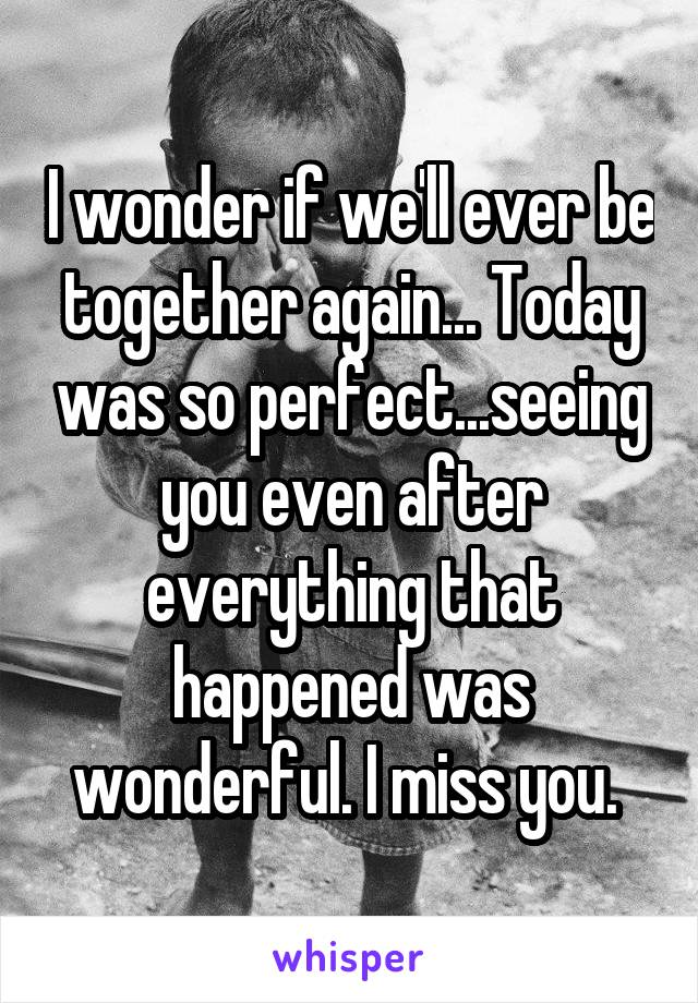 I wonder if we'll ever be together again... Today was so perfect...seeing you even after everything that happened was wonderful. I miss you.