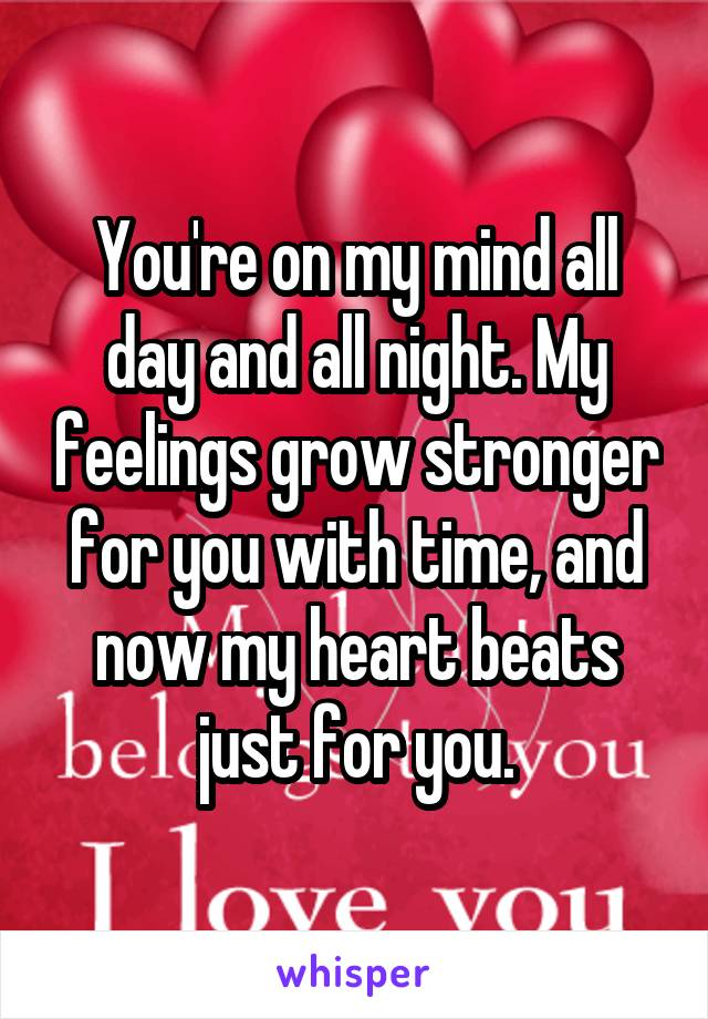 You're on my mind all day and all night. My feelings grow stronger for you with time, and now my heart beats just for you.