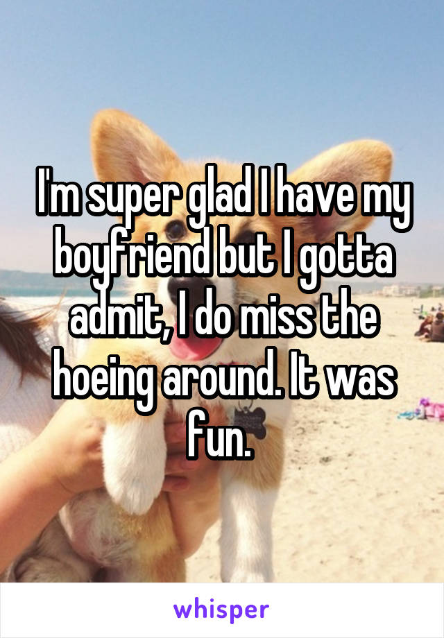 I'm super glad I have my boyfriend but I gotta admit, I do miss the hoeing around. It was fun.