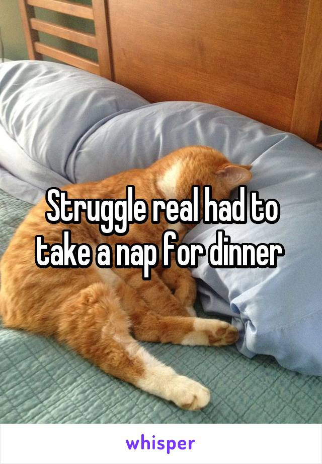 Struggle real had to take a nap for dinner