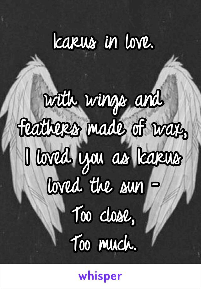 Icarus in love.  with wings and feathers made of wax, I loved you as Icarus loved the sun - Too close, Too much.