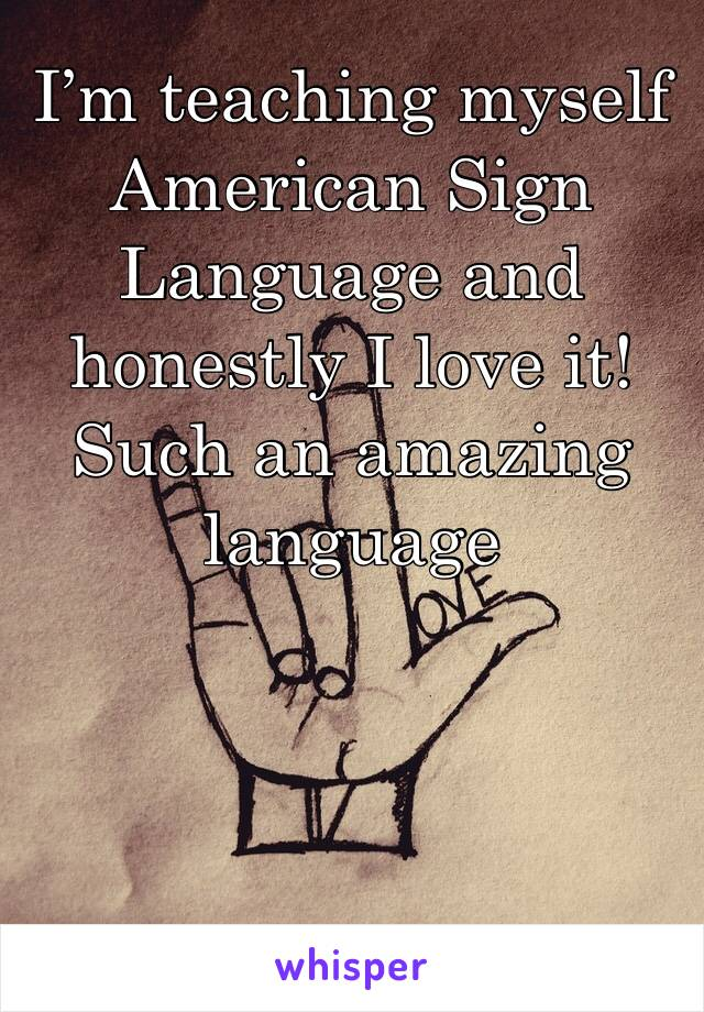 I'm teaching myself American Sign Language and honestly I love it! Such an amazing language