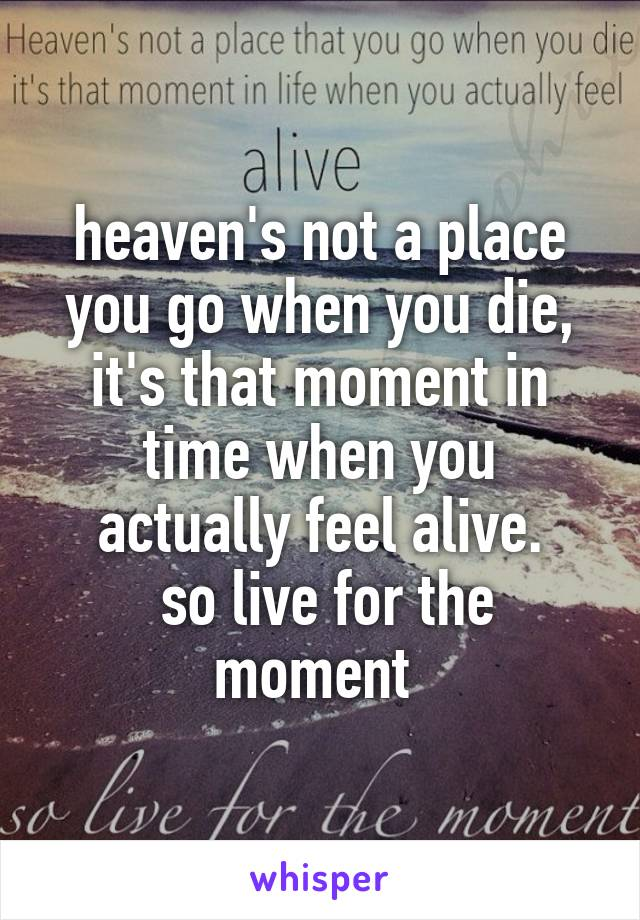 heaven's not a place you go when you die, it's that moment in time when you actually feel alive.  so live for the moment