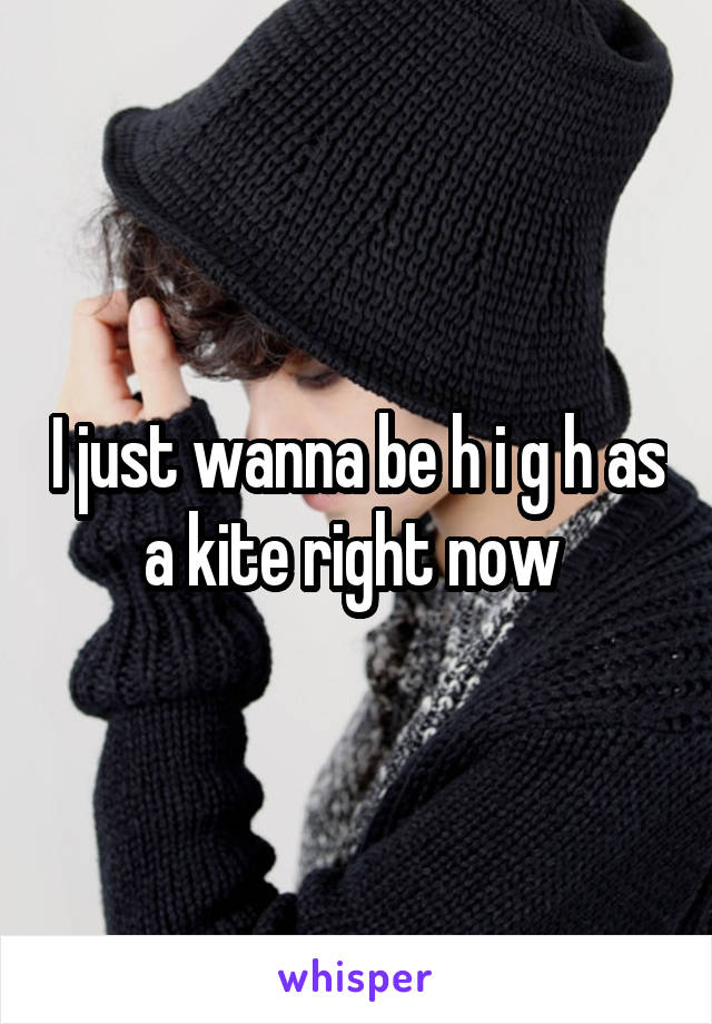 I just wanna be h i g h as a kite right now