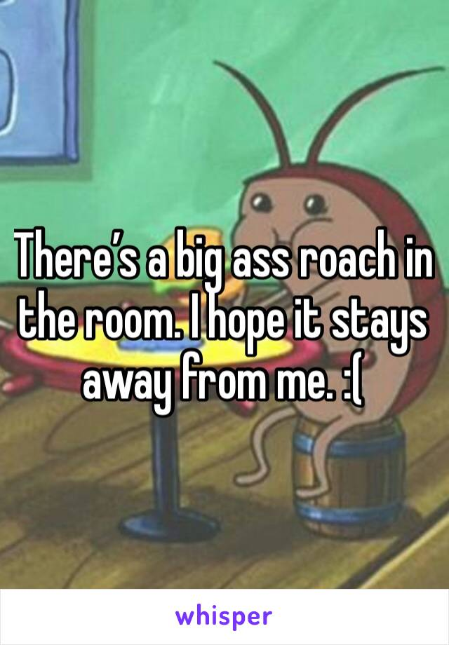 There's a big ass roach in the room. I hope it stays away from me. :(