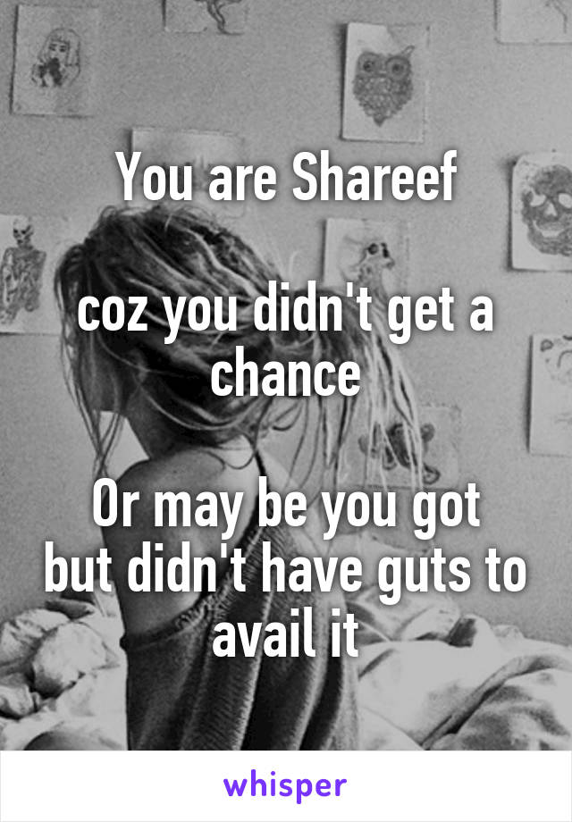You are Shareef  coz you didn't get a chance  Or may be you got but didn't have guts to avail it