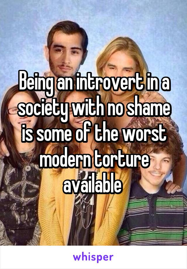 Being an introvert in a society with no shame is some of the worst modern torture available