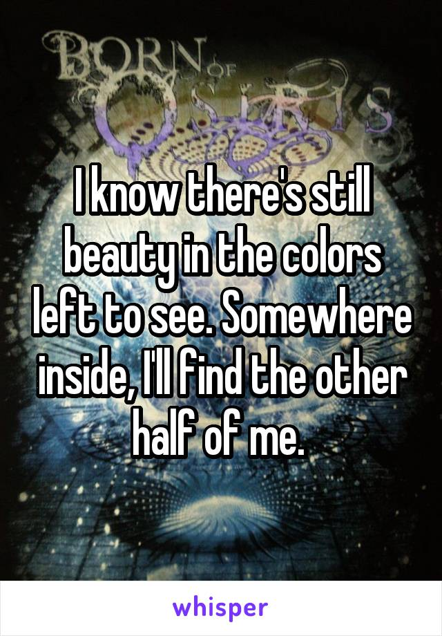 I know there's still beauty in the colors left to see. Somewhere inside, I'll find the other half of me.