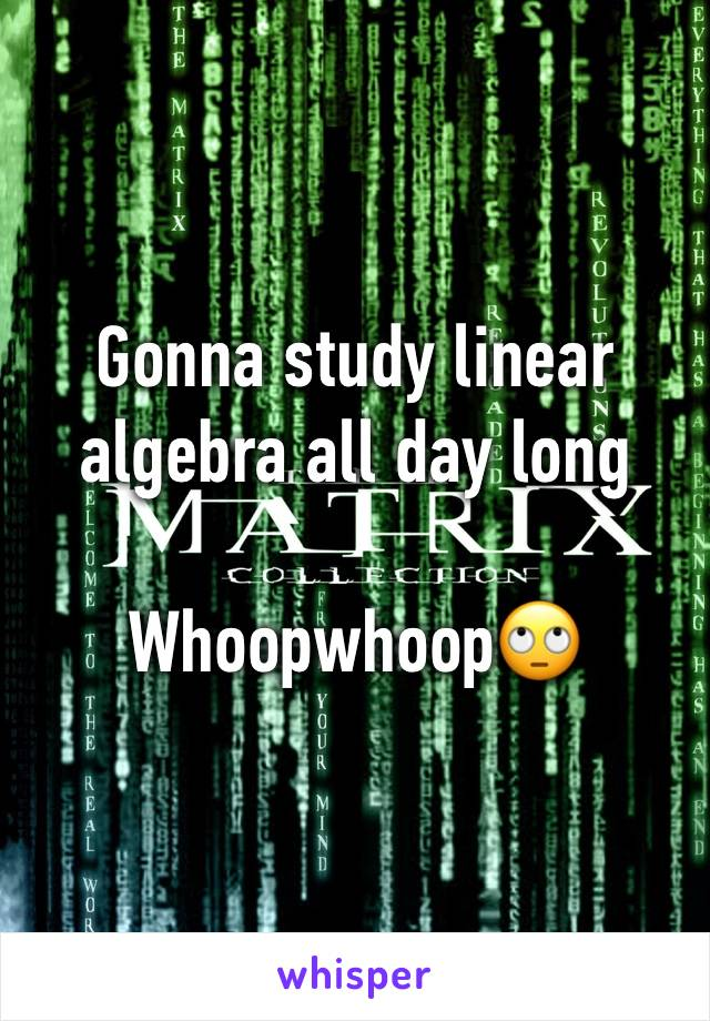 Gonna study linear algebra all day long  Whoopwhoop🙄