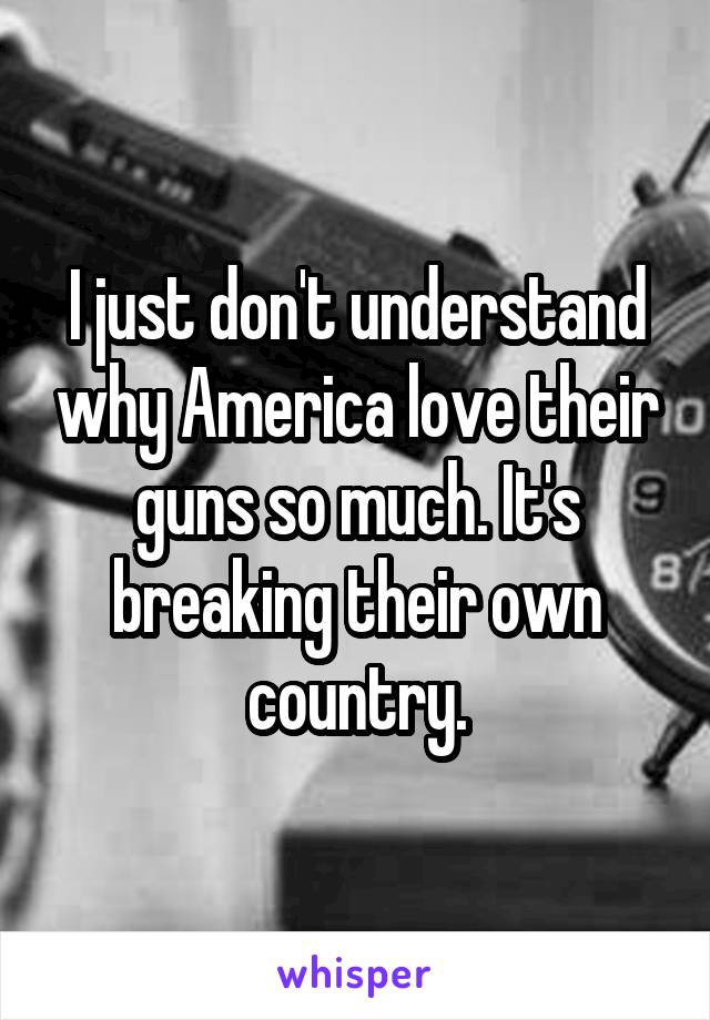 I just don't understand why America love their guns so much. It's breaking their own country.