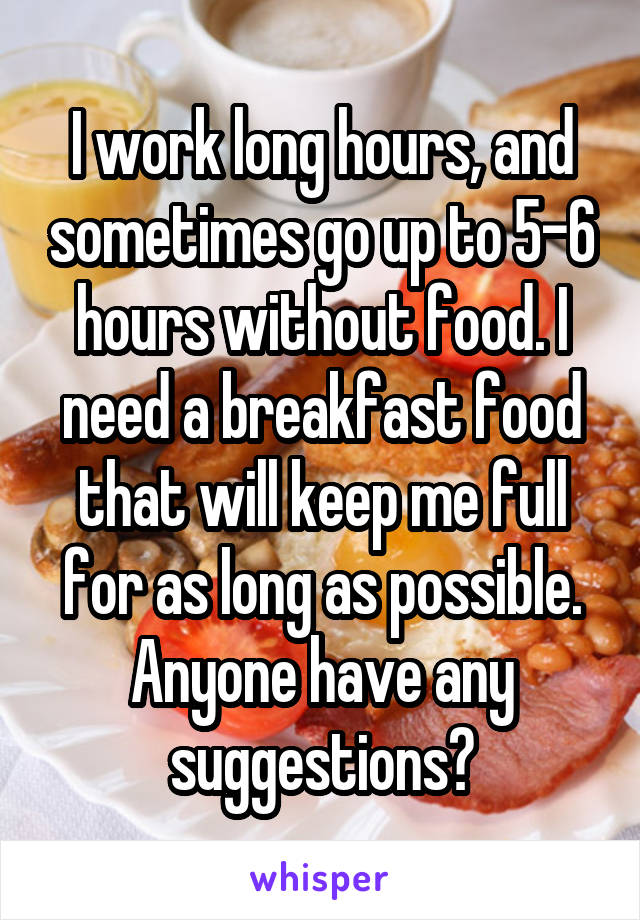 I work long hours, and sometimes go up to 5-6 hours without food. I need a breakfast food that will keep me full for as long as possible. Anyone have any suggestions?