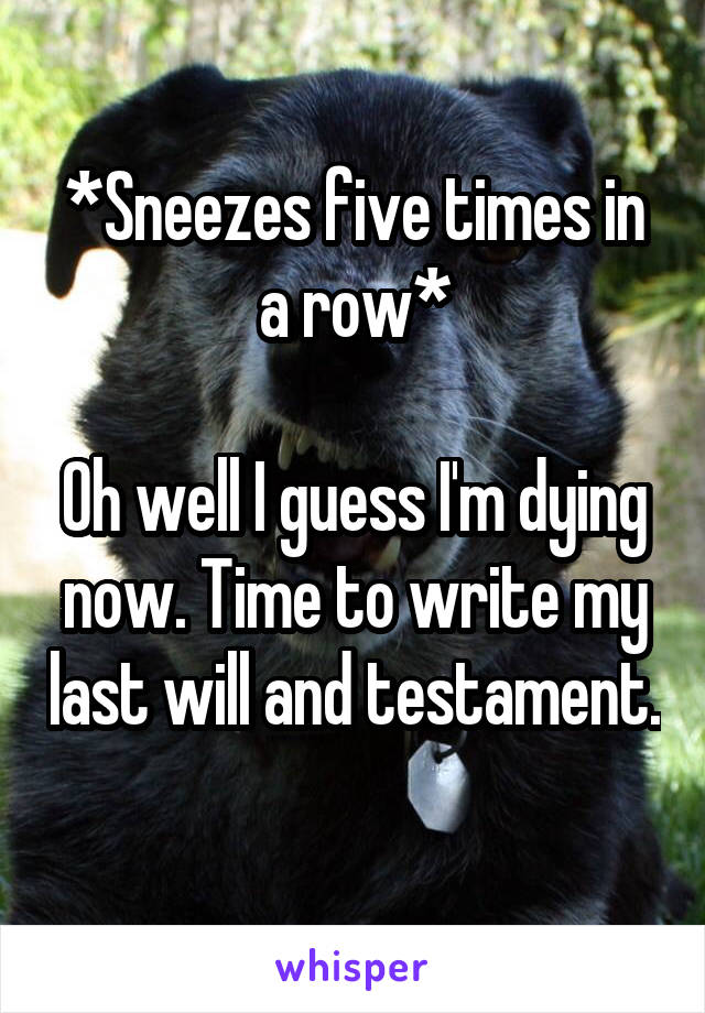 *Sneezes five times in a row*  Oh well I guess I'm dying now. Time to write my last will and testament.