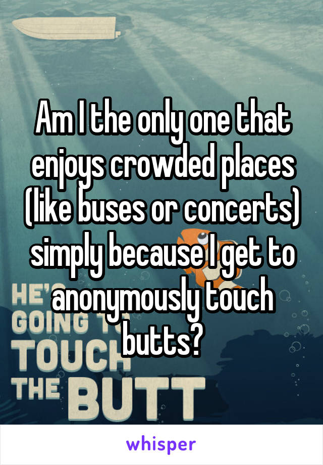 Am I the only one that enjoys crowded places (like buses or concerts) simply because I get to anonymously touch butts?