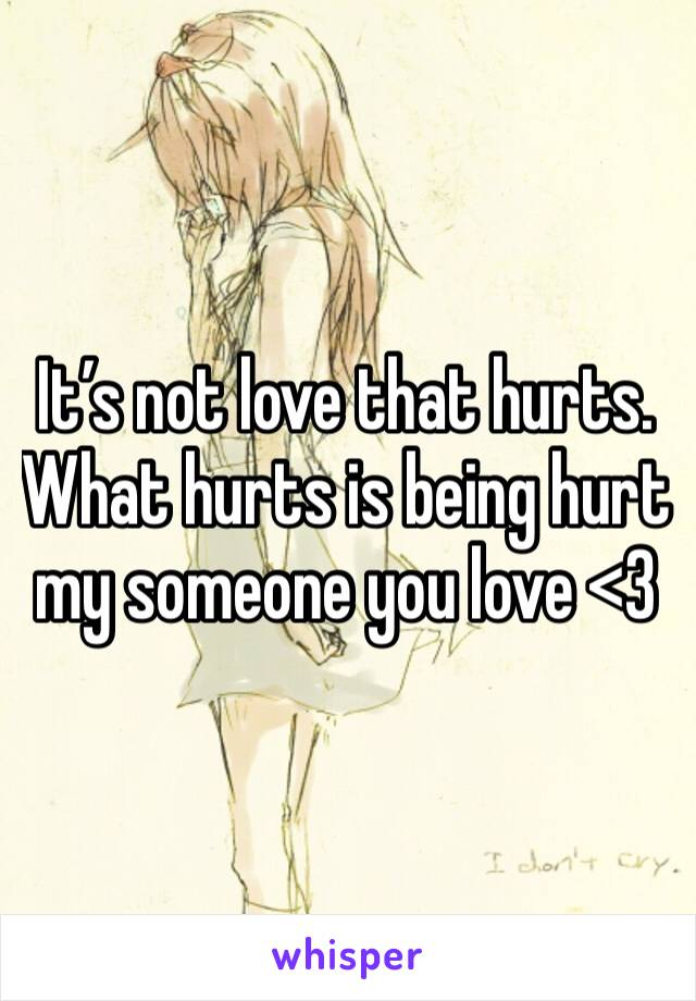 It's not love that hurts. What hurts is being hurt my someone you love <3