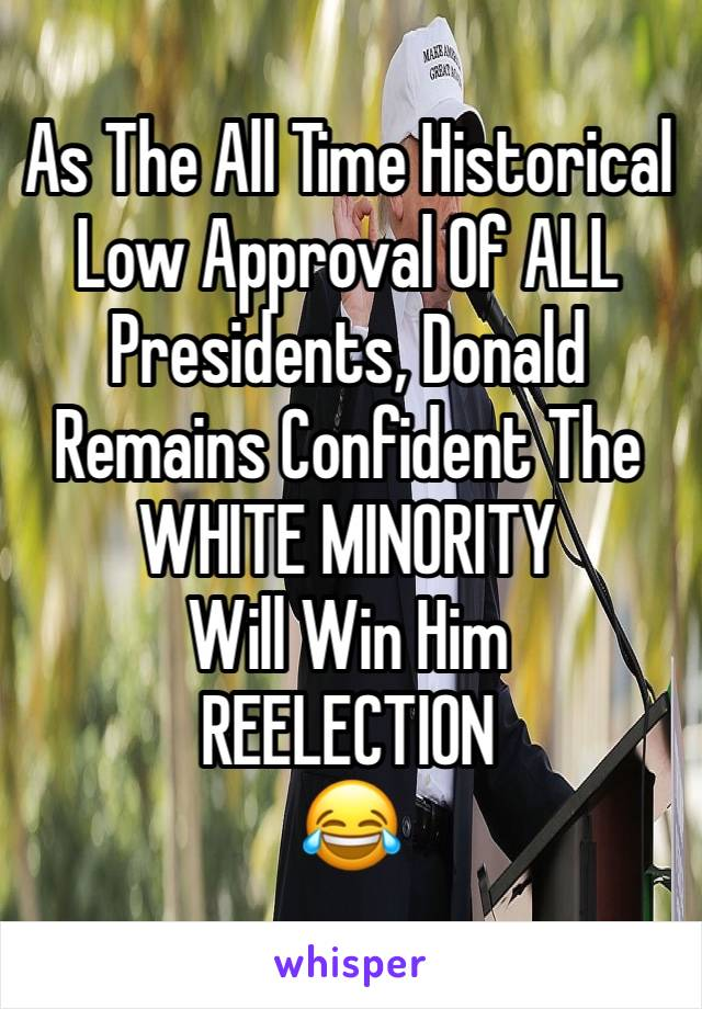 As The All Time Historical Low Approval Of ALL Presidents, Donald Remains Confident The WHITE MINORITY  Will Win Him  REELECTION  😂