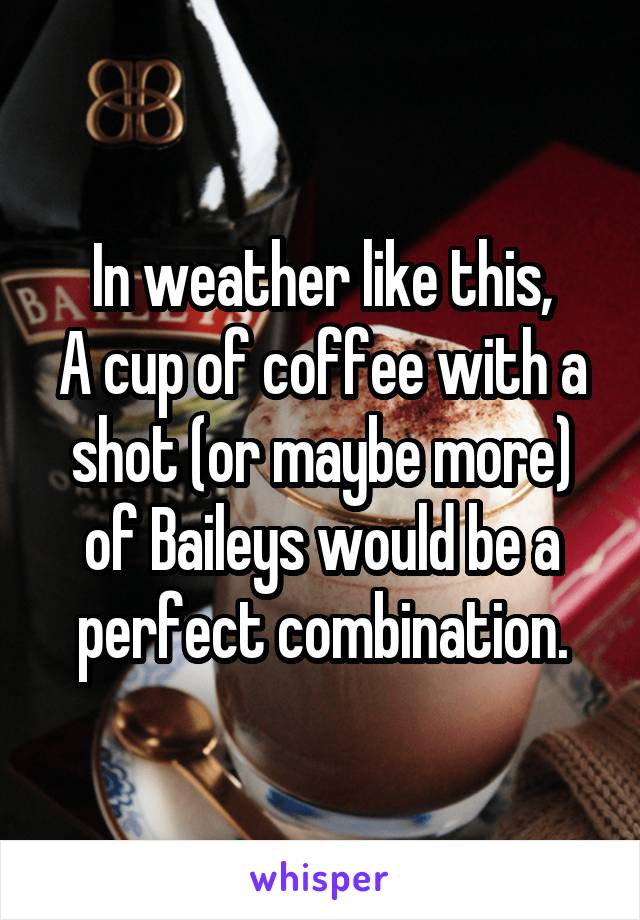 In weather like this, A cup of coffee with a shot (or maybe more) of Baileys would be a perfect combination.