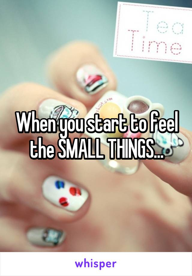 When you start to feel the SMALL THINGS...