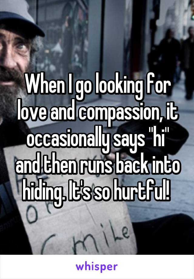 "When I go looking for love and compassion, it occasionally says ""hi"" and then runs back into hiding. It's so hurtful!"