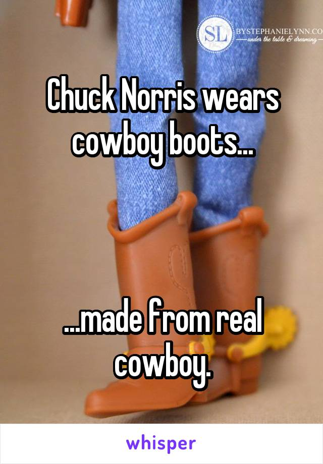 Chuck Norris wears cowboy boots...    ...made from real cowboy.