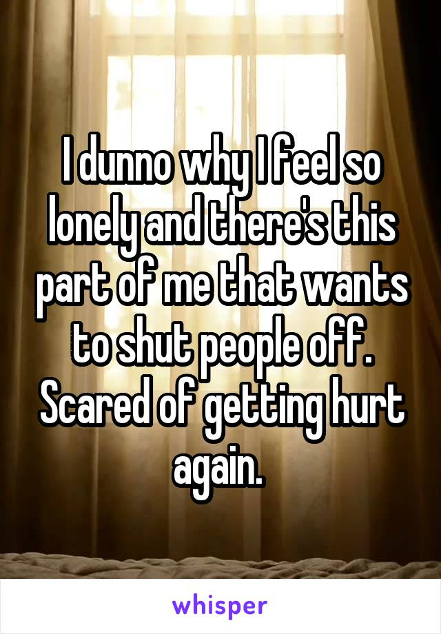 I dunno why I feel so lonely and there's this part of me that wants to shut people off. Scared of getting hurt again.