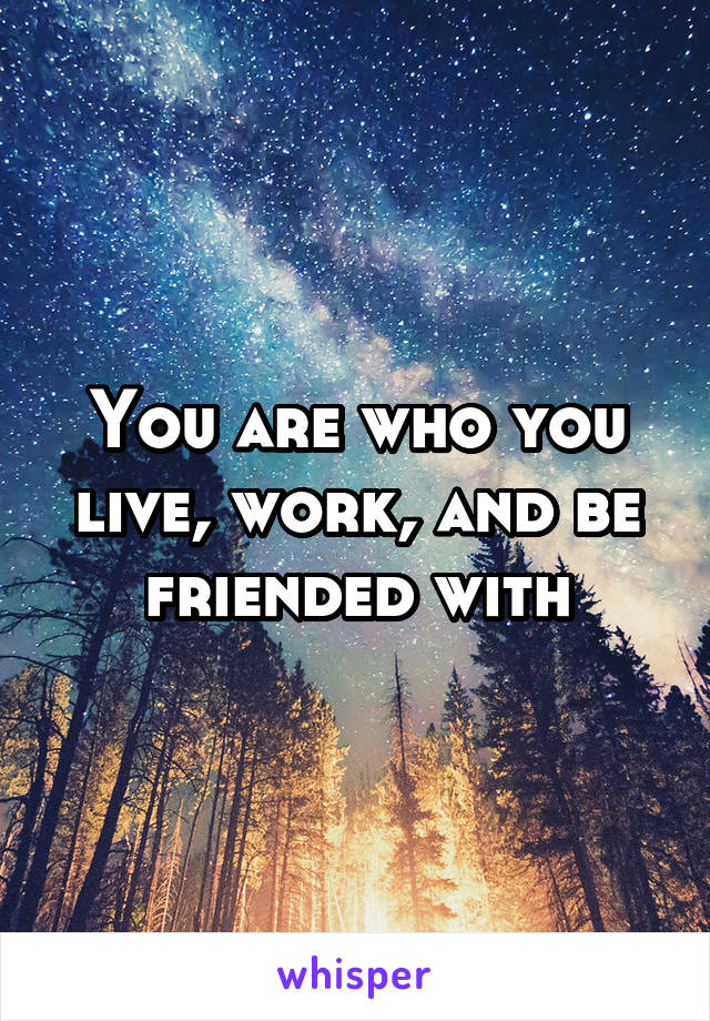 You are who you live, work, and be friended with